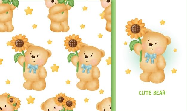원활한 패턴 해바라기를 들고 귀여운 테 디 베어와 함께 생일 인사말 카드.