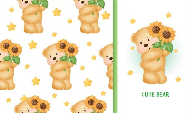 Бесшовный фон поздравительная открытка ко дню рождения с милым плюшевым мишкой, держащей подсолнух.