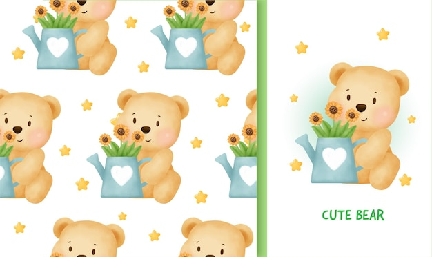 Seamless pattern birthday greeting card with cute teddy bear.