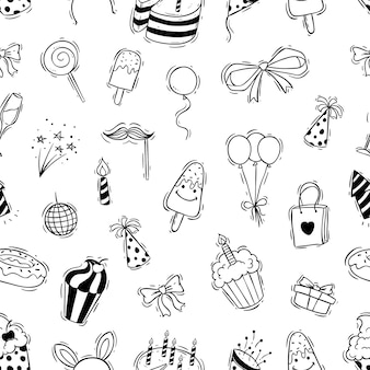 Seamless pattern of birthday party with doodle style