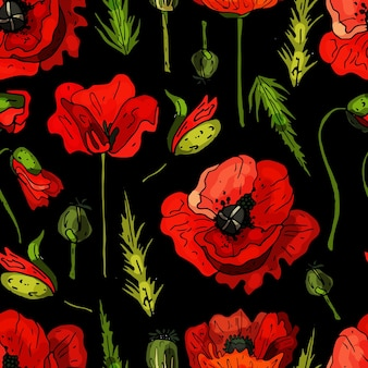 Seamless pattern on a black background from blooming poppies. delicate abstract floral print.