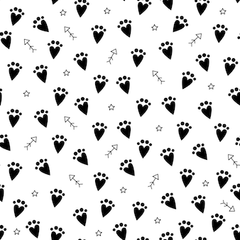 Seamless pattern black cat step, vector repeat mystical illustration footprint on white background