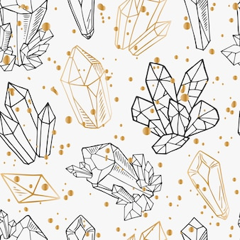 Seamless pattern - black and golden outline crystals or gems