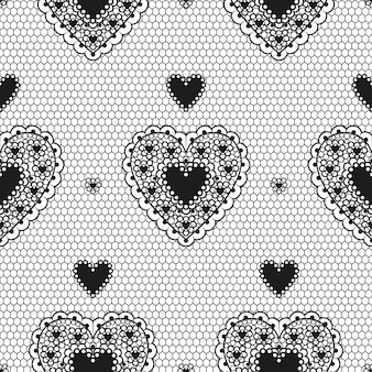 Seamless pattern of black guipure with hearts for a wedding or valentine's day.