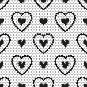 Seamless pattern of black lace with hearts for a wedding or valentine's day.
