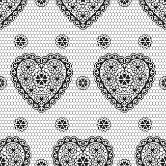 Seamless pattern of black ornament with hearts for a wedding or valentine's day.