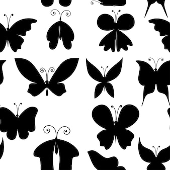 Seamless pattern black silhouette set of abstract decorative butterfly flat vector illustration