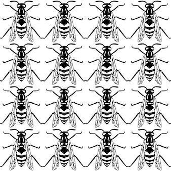 Seamless pattern of black wasp isolated on white background. vector illustration of wasp insect in line simple style.