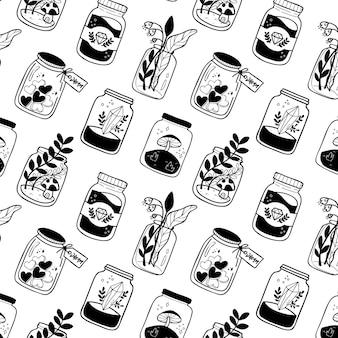 Seamless pattern black and white botanical mason jar
