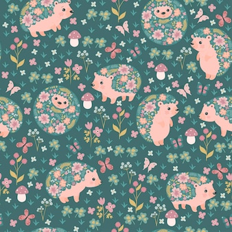 Seamless pattern of blooming hedgehogs and flowers