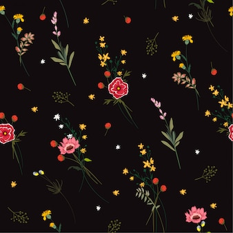 Seamless pattern blooming meadow flowers vector