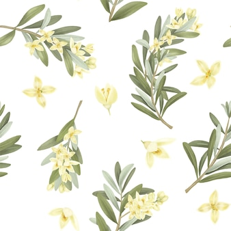 Seamless pattern of blooming olive tree branches and olive flowers