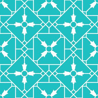 Seamless pattern blue arabic ornamental ceramic tile