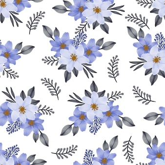 Seamless pattern of blue bouquet for fabric