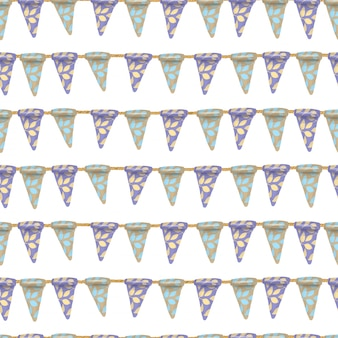 Seamless pattern of blue and brown floral hanging flags, hand drawn