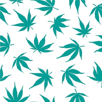 Seamless pattern of blue cannabis leaves on a white background. vector illustration