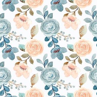 Seamless pattern of blue and cream roses with watercolor