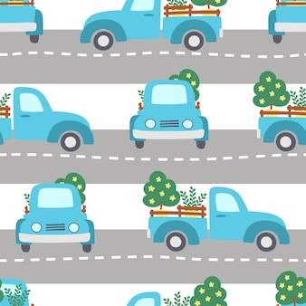 Seamless pattern of blue farm pickups driving on grey road on white background.