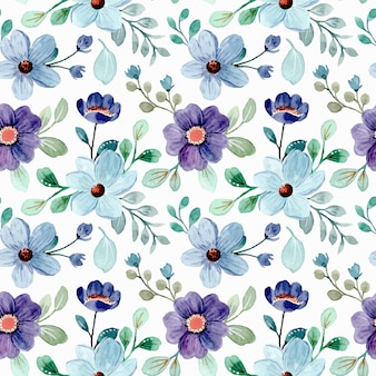 Seamless pattern of blue floral and green leaves watercolor
