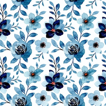 Seamless pattern of blue floral watercolor
