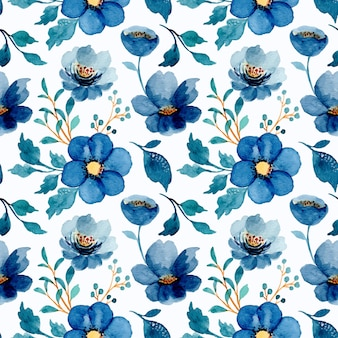 Seamless pattern of blue floral with watercolor