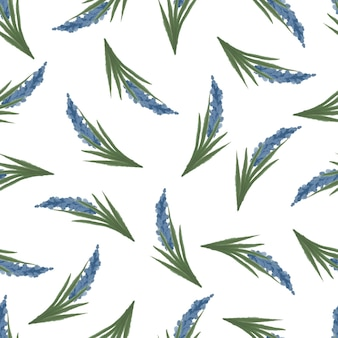 Seamless pattern of blue lavender for fabric and background design
