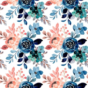 Seamless pattern of blue pink floral watercolor