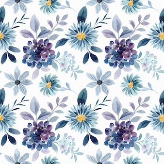 Seamless pattern of blue purple floral watercolor