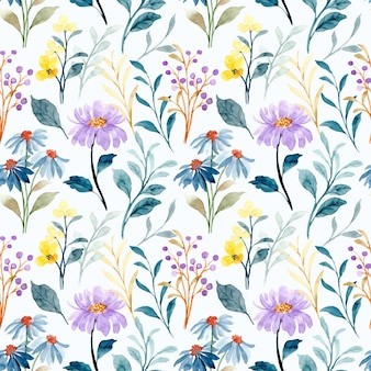 Seamless pattern of blue and purple wild floral watercolor
