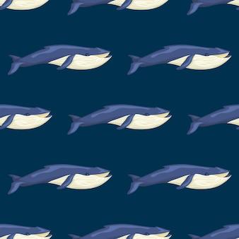원활한 패턴 파란색 배경에 푸른 고래입니다. 직물에 대 한 바다의 만화 캐릭터의 템플릿입니다.