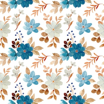 Seamless pattern of blue white floral watercolor