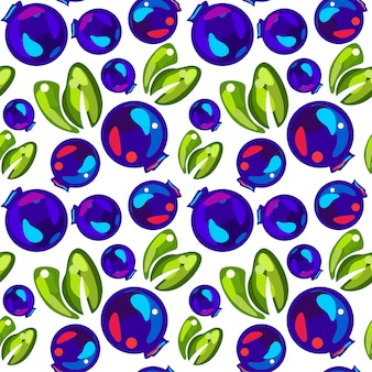 Seamless pattern of blueberries