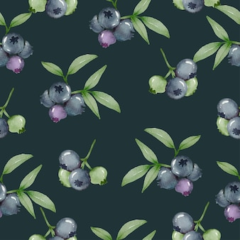 Seamless pattern of blueberry, full and leaf