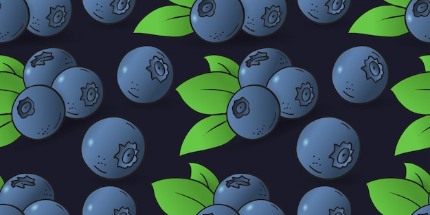 Seamless pattern of blueberry with leaves