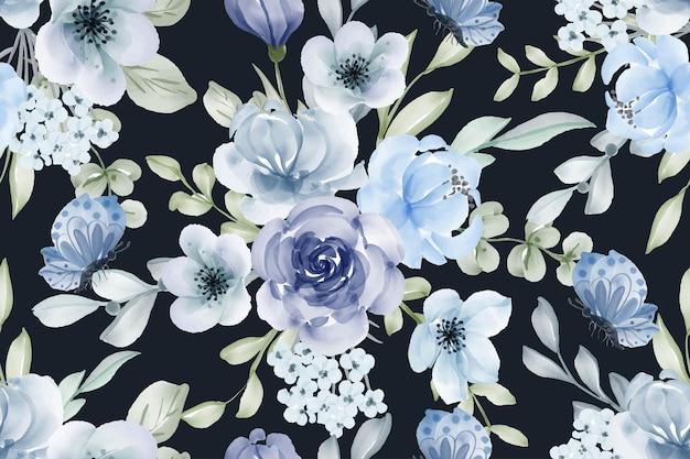Seamless pattern blues watercolor flower