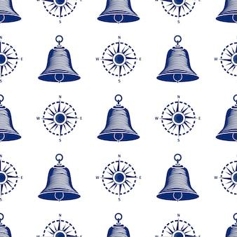 Seamless pattern boat navigation bell