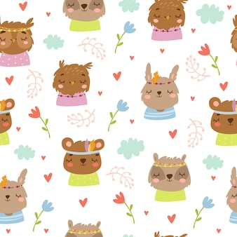 Seamless pattern in bohemian style, with cute cartoon animals