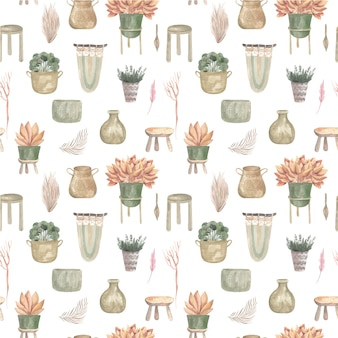 Seamless pattern of boho plants and indoor flowers in baskets and hanging pots macrame decor.