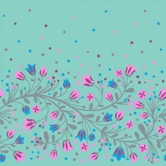 Seamless pattern border with flowering branches.