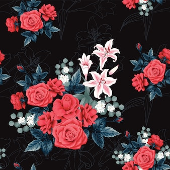 Seamless pattern botanical beautiful red rose flowers and lilly black background.