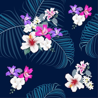 Seamless pattern botanical on dark blue background.