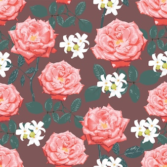 Seamless pattern botanical pink rose and white flowers, watercolor style