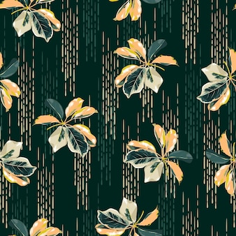 패션, 직물, 섬유, 벽지, 커버, 웹, 포장 및 짙은 녹색의 모든 인쇄물을 위한 손으로 그린 선 배경 디자인이 있는 매끄러운 패턴 식물 잡화