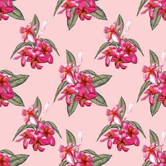 ハイビスカスの花と植物のシームレスなパターンは、黒い背景を抽象化します。