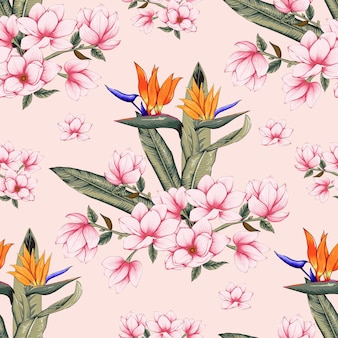 Seamless pattern botanical with pink magnolia and bird of paradise flowers on pastel color