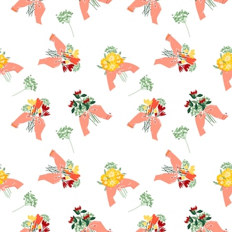 Seamless pattern of a bouquet of flowers in your hands. summer flowers on a white isolated background.