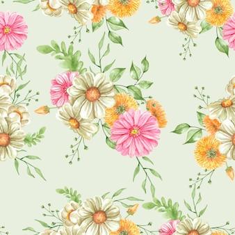 원활한 패턴 꽃다발 핑크와 오렌지 꽃과 나뭇잎 그림 수채화