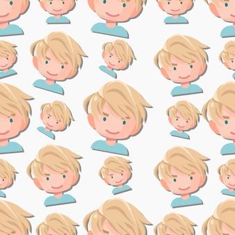 シームレスパターンの男の子のキャラクターフラット漫画