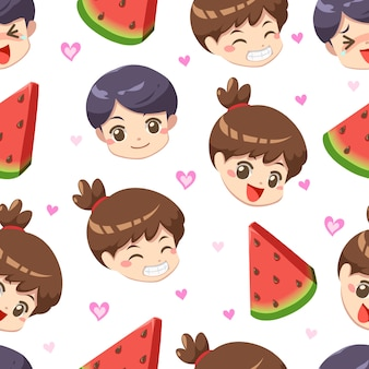 Seamless pattern of boy and girl with watermelon summer – vector