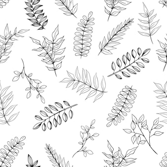 Seamless pattern of branches or leaves with hand drawn or sketch style on white